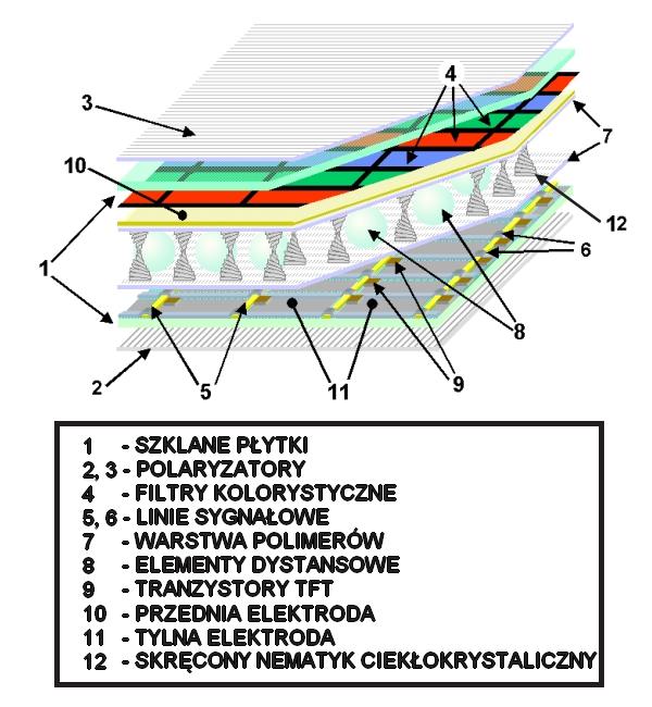 Budowa wewnętrzna panelu LCD wyposażonego w matrycę Twisted Nematic